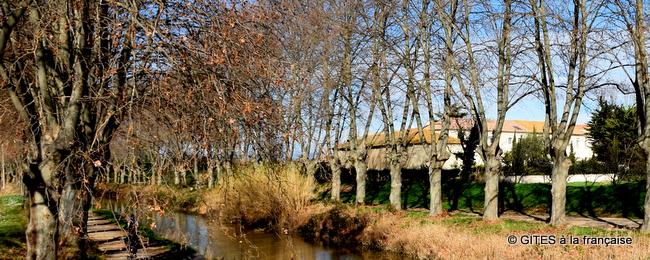 Bastide on banks of Canal du Midi Narbonne